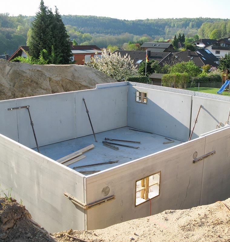 Keller für Fertighäuser mit E.B.-Bau